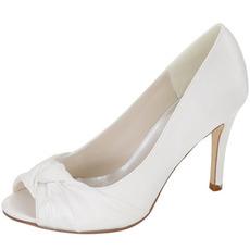 Poročni čevlji z ribjo glavo, saten poročni čevlji stiletto oblačila čevlji visoke kakovosti banket čevlji