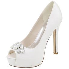 Večerni čevlji nosorogovo poročno obutev seksi ribja usta visoke pete poročne čevlje stiletto sandale