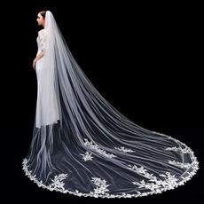 Visokokakovostna čipkasta poročna tančica dolga 3 metre poročna tančica z glavnimi poročnimi dodatki