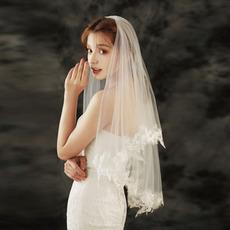 Poročna čipkasta tančica poroka kratka poročna tančica z lasmi česano tančico poročni dodatki