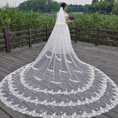 Bela čipkasta tančica poročna nevesta cerkvena tančica tridimenzionalna tančica z rožami