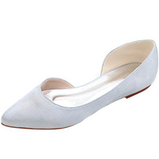 Čevlji s poudarjenimi čevlji iz satena z ravnimi čevlji za maturantski ženski čevlji
