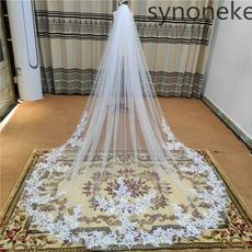 Enoslojna poročna tančica čipkasta poročna tančica aplicirana bela tančica iz slonovine 3 metre
