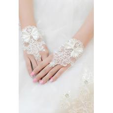 Poroka Rokavice Kratek Brez dež dekoracija Čipke Fabric Mitten
