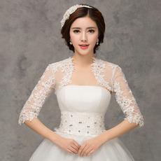 Poroka šal 1/2 rokavi Slikovite appliques Lace Fabric