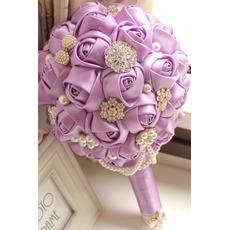 High end meri vijolična tema poroka nevesta šopek