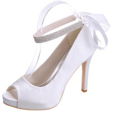 Saten stiletto poročni čevlji ribji usti čevlji banket letne zabave modni čevlji