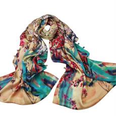Šal Real svila zimo cvetje navaden Topla