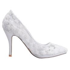 Pomladna čipka plitva usta poudarjena enojni čevlji vezene rože visoke pete bele poročne čevlje