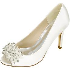 Poročni ženski čevlji plitva usta ribje glave visoke pete nosorogovo enojni čevlji družice neveste banket obleke sandale