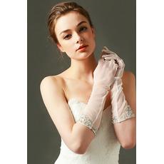 Poroka Rokavice Tulle Shade Zaželene Pearl jesen poln prst
