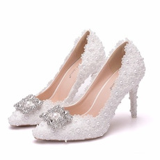 Rhinestone enojni čevlji poročni čevlji čipke party čevlji