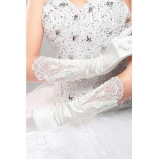 Poroka Rokavice Red Long Silk Svečana poln prstov Cold