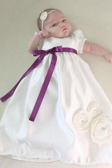 Dolga Princesa Formalno Balon rokavi Poudarjen lok Krst Obleko