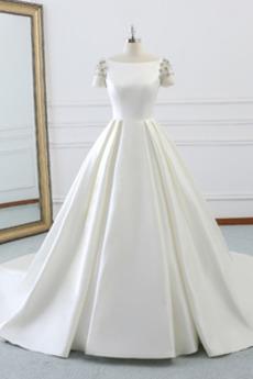 Dvorana Satin Formalno Koralda A Vrstica Naravni pasu Poročne obleko