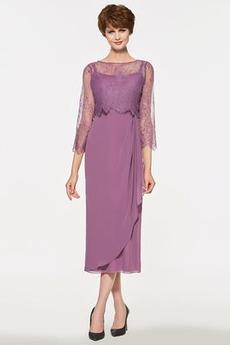 Elegantno Čipke Tulec Dolžina čaj Tri četrtine rokavi Mati obleko