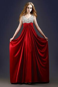 Elegantna V-vratu Dolg Imperij pasu Imperij Poletje Večerne obleko
