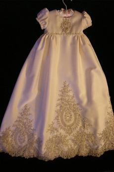Visoko zajeti Pouf rokavi Dragulj Formalno počitnice Krst Obleko