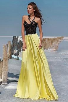 Čipke Elegantno Dolga Srednje Ljubica Brez rokavov Maturantske obleko