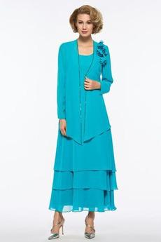 Zajemalka Cvetje bluza Peščena ura Šifon Elegantno Mati obleko