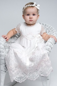 Formalno Princesa Naravni pasu Pomlad Tila Lok Kratkimi rokavi Krst Obleko