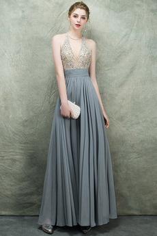 Elegantno Zvezdnato dragulji steznik V-vratu Maturantske obleko