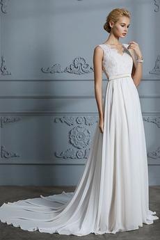 Preprosta Dolga A Vrstica Prekrivni čipke Poletje Poročne obleko