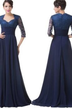 Čipke Zadrgo navzgor A Vrstica Elegantno Podkve vratu Mati obleko