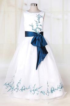 Petite Široko plitvo izrez Brez rokavov Pozimi Cvet dekle obleko