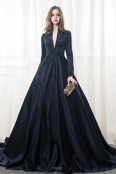 Satin Elegantno A Vrstica Dolgimi rokavi Zadrgo navzgor Poročne obleko