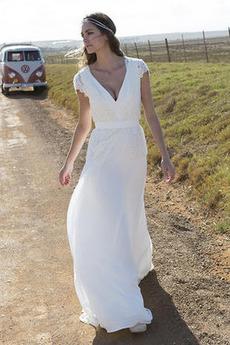 Lok V-vratu Poletje A Vrstica Omejen rokavi Preprosta Poročne obleko