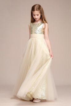 Paillette steznik Naravni pasu Elegantno A Vrstica Cvet dekle obleko