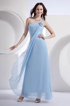 Šifon Mid nazaj Brez pasu Dojenček modra Brez naramnic Djeveruša Obleko