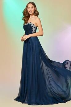 A Vrstica Naravni pasu Draped Elegantno Dolga Brez naramnic Prom Obleko