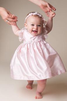 Visoko zajeti Dragulj Taffeta Naravni pasu Svoboden rokavi Otroške obleko