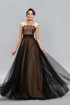 Dolga Naravni pasu Brez naramnic Elegantna Tila Večerne obleko