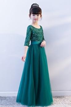 Elegantna Srednje Dragulj Naravni pasu T-majica Deklica obleko