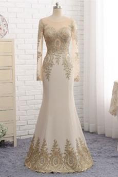Elegantno Široko plitvo izrez Visoko zajeti Dolžina tal Večerne obleko
