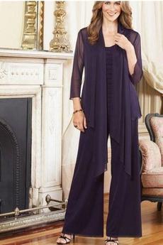 Hlače obleka Šifon Naravni pasu Tri četrtine rokavi Mati obleko s hlačami