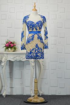 Elegantno Naravni pasu Aplicirano Tulec Čipke Večerne obleko