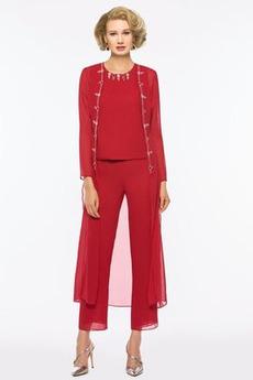 Formalno Naravni pasu Hlače obleka Ball Pozimi Šifon Mati obleko