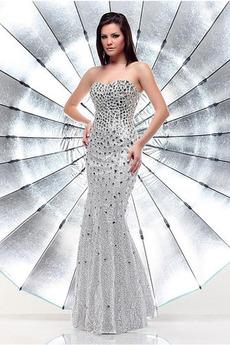 Zvezdnato Paillette Zadrgo Naravni pasu Brez rokavov Bleščicami Obleko