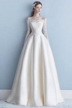 Čipke Dolgimi rokavi Dolg Satin Zadrgo navzgor Poročne obleko