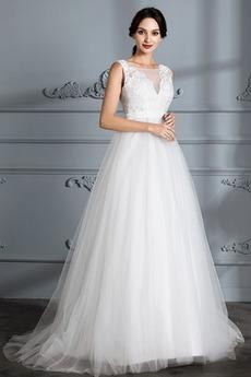 Preprosta Brez rokavov Zunanji Široko plitvo izrez Poročne obleko