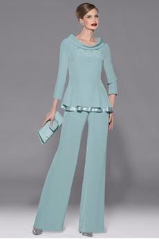 Poroka Šifon Hlače obleka Gleženj dolžina Mati obleko s hlačami