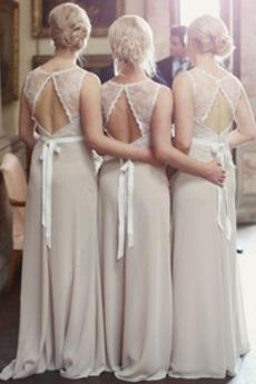 Čipke Elegantna Dolga A Vrstica Široko plitvo izrez Djeveruša Obleko