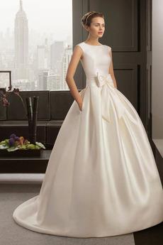 Dolžina tal Princesa Padec Satin Formalno Mid nazaj Poročne obleko