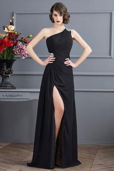 Sprednji razrezani Naravni pasu Šifon Elegantna Maturantske obleko