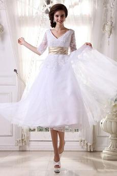 Naravni pasu Dolžina čaj Pomlad Iluzija rokavi Poročne obleko