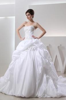Brez naramnic Dolg Brez rokavov Dvorana dragulji steznik Poročne obleko